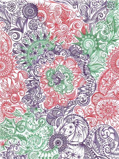 Графические рисунки цветными шариковыми ручками Расцвет