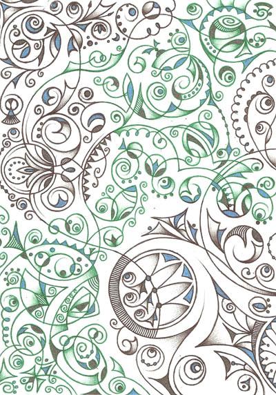 Интересные рисунки Бело-бирюзовый
