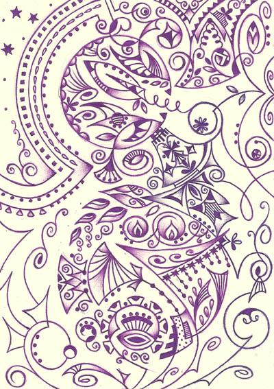 Интересные рисунки Бело-сиреневый