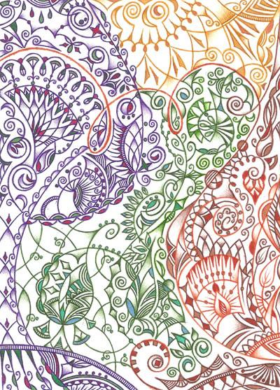 Рисунки Хуторной Елены цветными шариковыми ручками Я это я