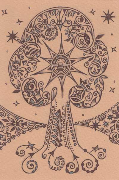 Графические рисунки Хуторной Елены шариковыми ручками Шамбала