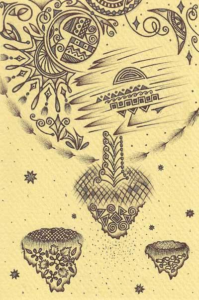 Рисунки Хуторной Елены обычными ручками Летящее дерево