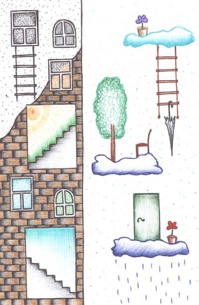 Фантазийные рисунки шариковыми ручками Лестница насквозь