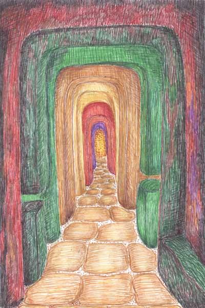 Рисунки цветными ручками Пещера