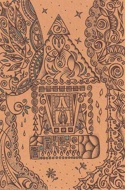 Метафорические карты, графические рисунки домик деревья