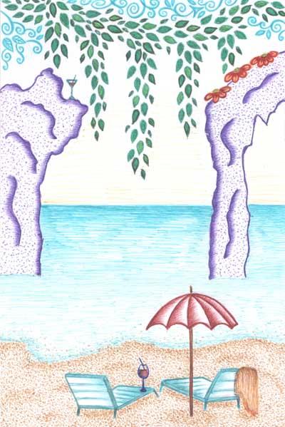 Метафорические карты, море, пляж, солнце