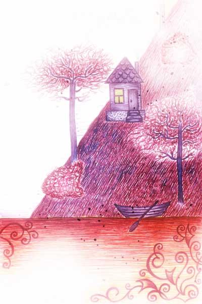Метафорические карты, рисунок домика в горах