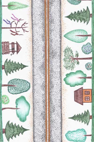 Метафорические карты, дорога, деревья, колодец