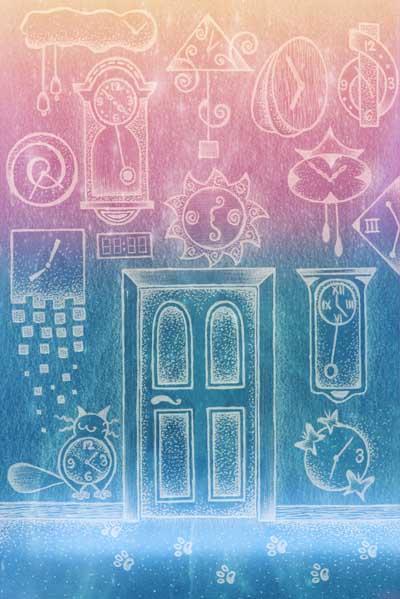 Множество настенных часов, дверь, кот. Рисунок графика