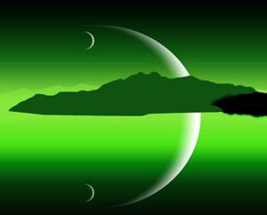 Ночное небо Зеленое месяц сюрреализм