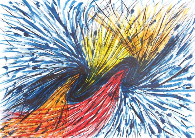 Рисунок акварельными красками Водоворот