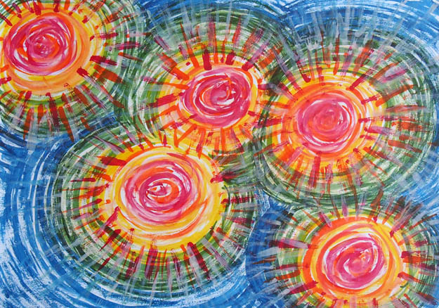 Рисунок акварельными красками Солнечное вдохновение
