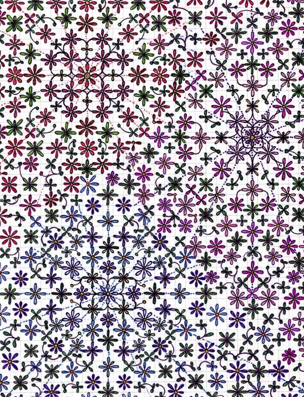 Рисунки шариковыми ручками на тетрадном листе Цветочное заклинание