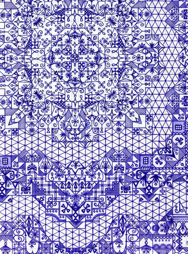 Рисунки шариковыми ручками на тетрадном листе Узор души