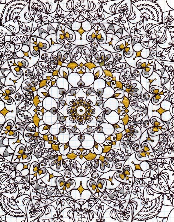 Рисунок шариковыми ручками на тетрадном листе Позолота
