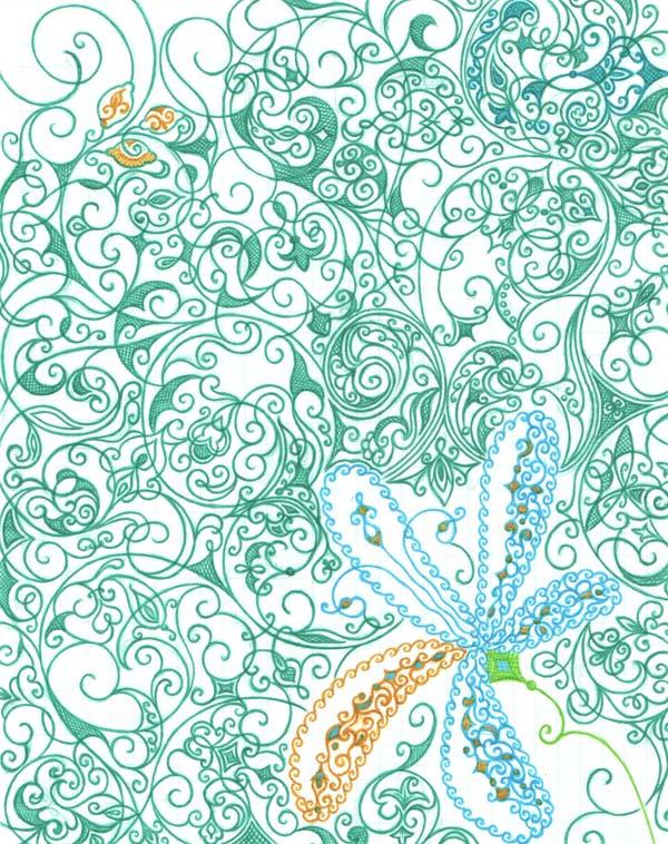 Рисунок шариковыми ручками на тетрадном листе Лимонный цвет