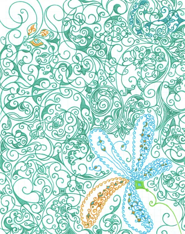 Рисунок на тетрадном листе ручками