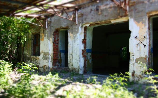 Зеленое лето Вход в разрушенное здание