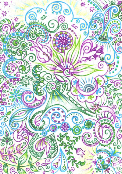 Графические рисунки шариковыми ручками Дивный сад моей души