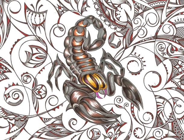 Скорпион рисунки шариковыми ручками Дух творения