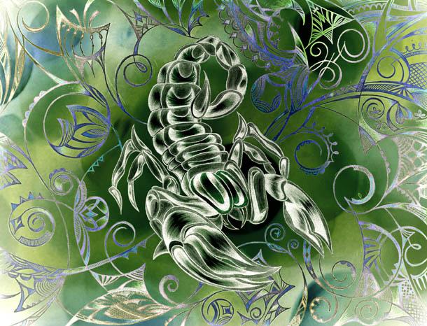 Рисунок скорпиона, интуитивные карты Цвет денег