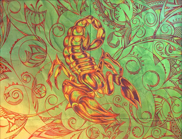 Рисунок скорпиона, интуитивные карты Вырастай