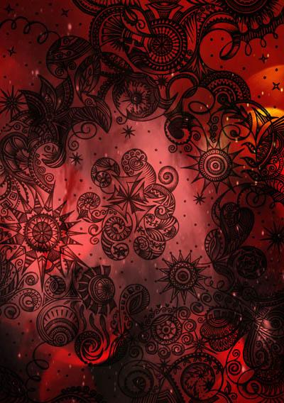 Интуитивные карты, абстрактные рисунки Красный бархат
