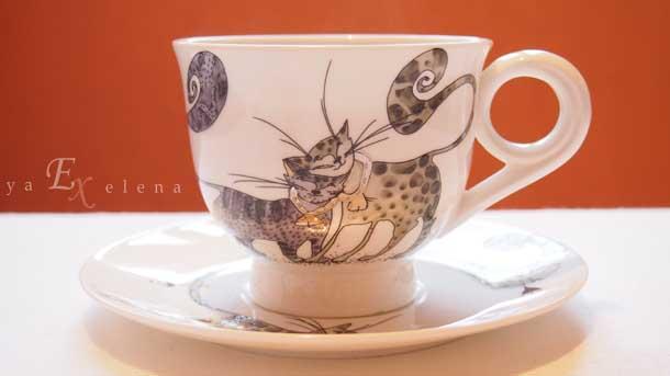 Моя любимая кружка Чашка с кошками с блюдцем