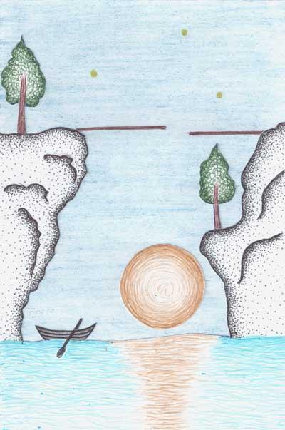 Рисунки для метафорических карт Низкая луна лодка скалы