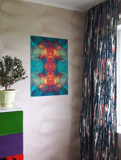 Огненные рисунки Постер в интерьере вертикальное