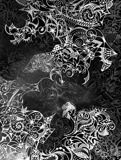 Графические рисунки черное и белое, интуитивные карты Хуторной Елены Невидимка