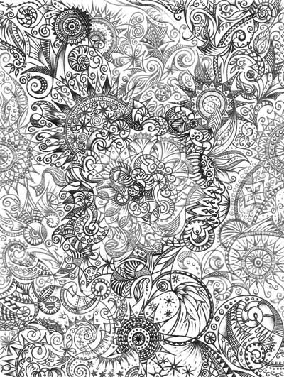 Рисунки графика черное и белое, метафорические карты Хуторной Елены Огромный маленький мир