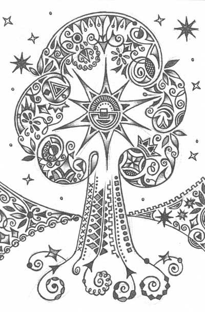 Метафорические карты, графический рисунок дерева Время расцвета