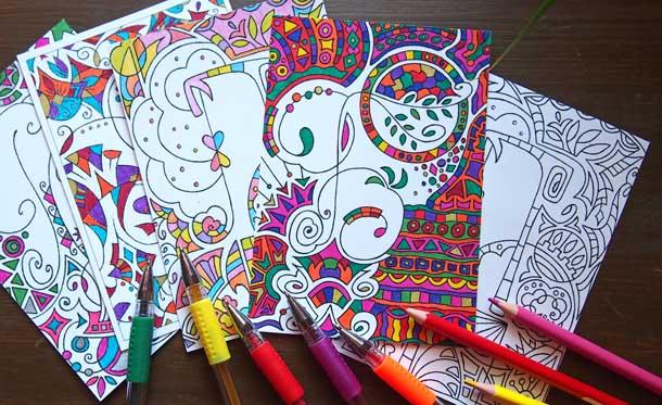 Красивые раскраски антистресс Четыре раскраски