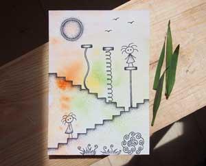 Что нужно для счастья рисунок Девочки на ступеньках