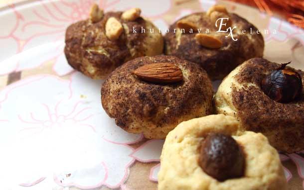 Простые рецепты сладкой выпечки Песочное печенье с орехами
