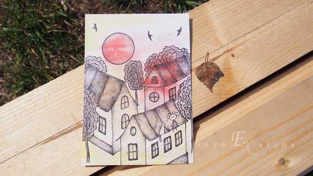Отдых на природе летом Рисунок крыши домов
