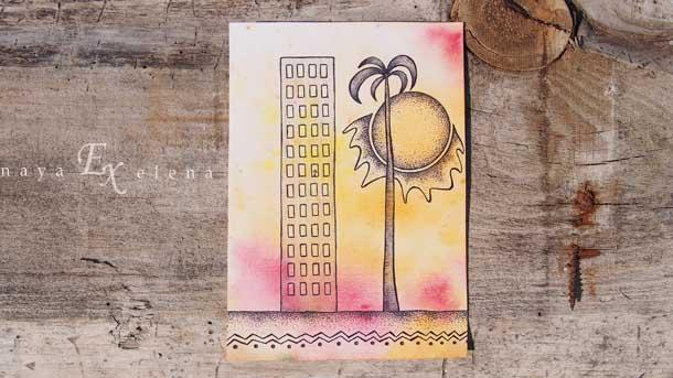 Отдых на природе летом Рисунок пальма и высотка