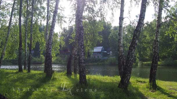 Отдых на природе летом Озеро березы дачный домик
