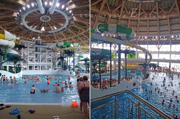 Новосибирский аквапарк Аквамир Много народу
