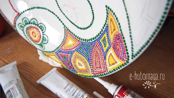 Точечная роспись для начинающих Начало росписи тарелки