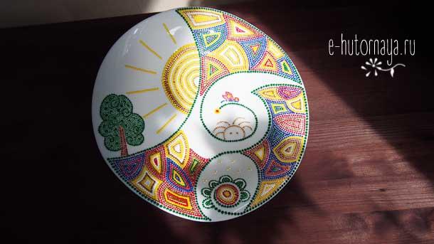 Точечная роспись для начинающих Тарелка общий вид