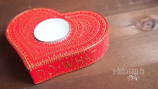 Новогодние подарки 2020 Подсвечник красное сердце