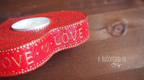 Новогодние подарки 2020 Подсвечник красный в форме сердца