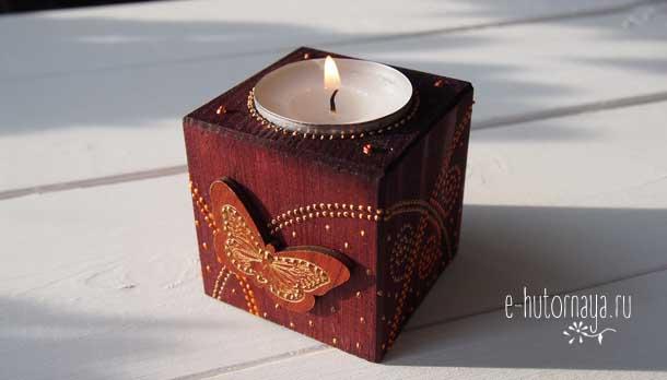 Точечная роспись купить Подсвечник коричневый бабочка