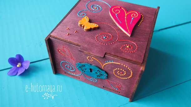 Точечная роспись купить Шкатулка с сердечками замочек