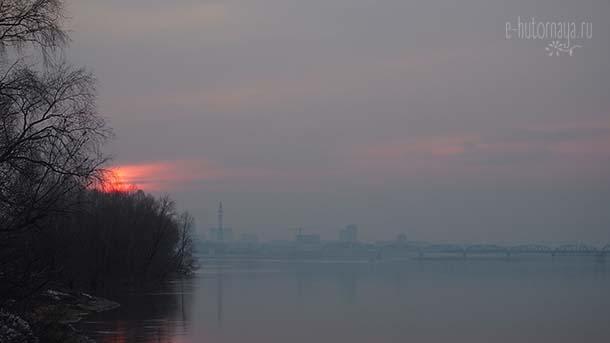 Замечать красоту вокруг Закат над рекой
