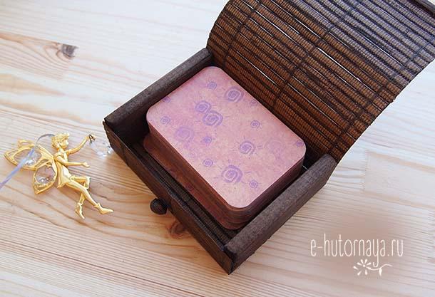 Бамбуковая коробочка для метафорических карт С колодой 108 карт