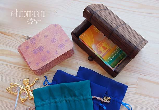 Бамбуковая коробочка для метафорических карт С колодой Ангел-хранитель