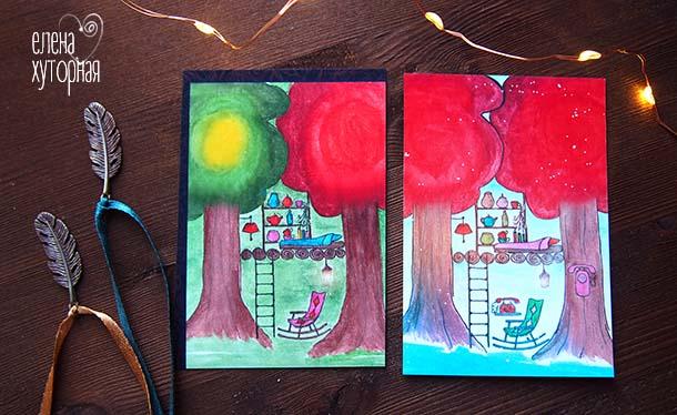 Ящик с секретами метафорические карты Карта с деревьями и телефоном